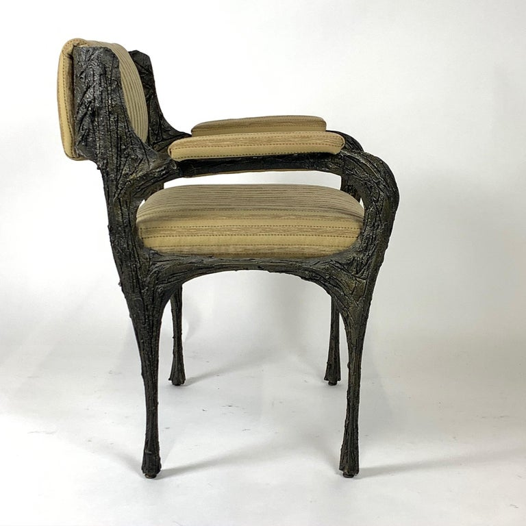 Pair of Midcentury Brutalist Sculpted Bronze Patinated Paul Evans PE105 Chairs For Sale 6