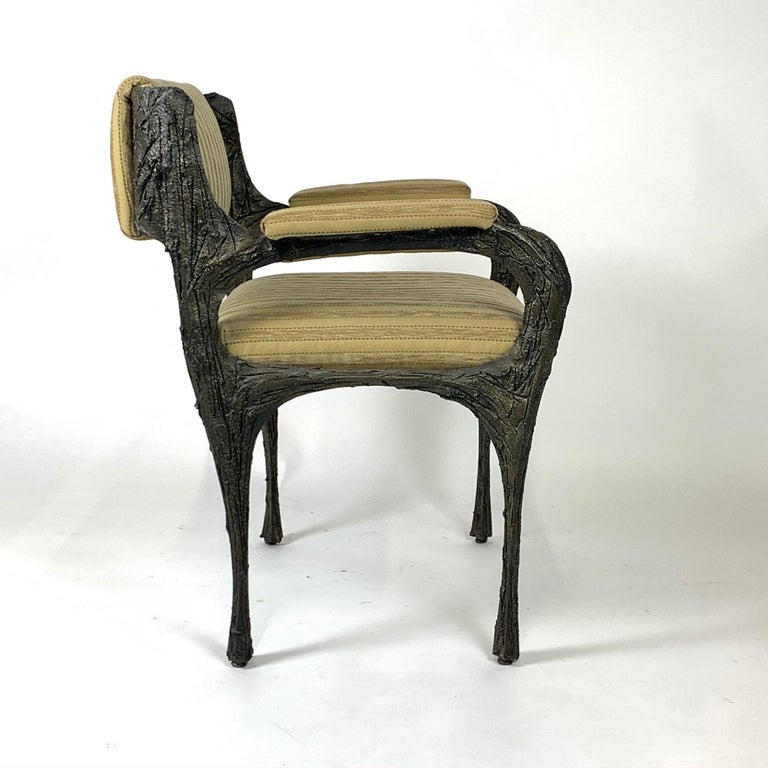 Pair of Midcentury Brutalist Sculpted Bronze Patinated Paul Evans PE105 Chairs For Sale 7
