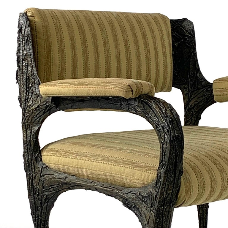 Upholstery Pair of Midcentury Brutalist Sculpted Bronze Patinated Paul Evans PE105 Chairs For Sale