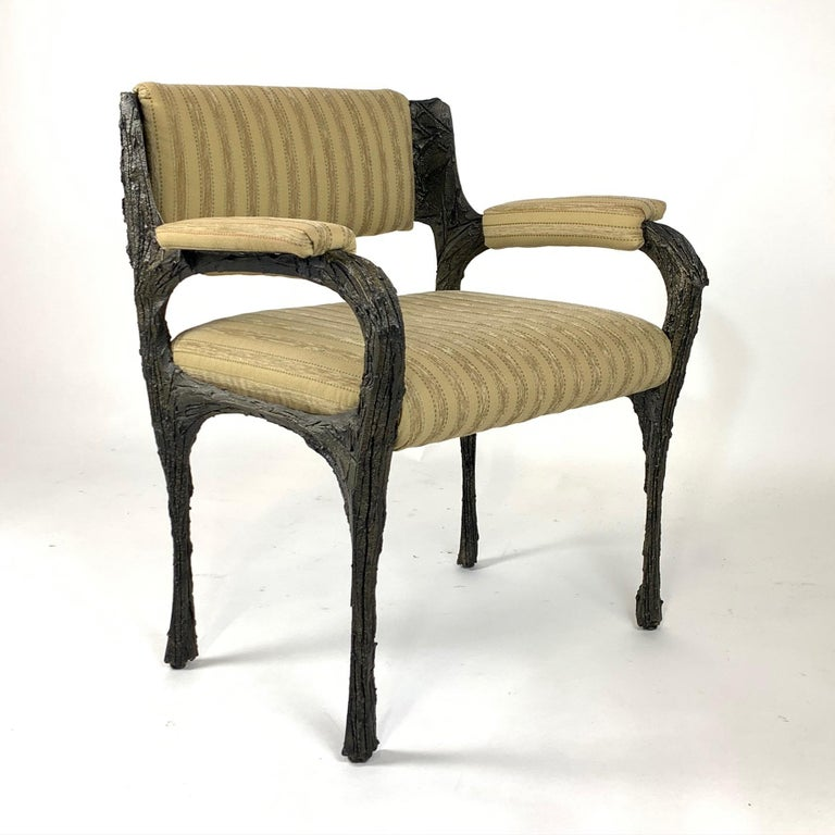 Pair of Midcentury Brutalist Sculpted Bronze Patinated Paul Evans PE105 Chairs For Sale 1