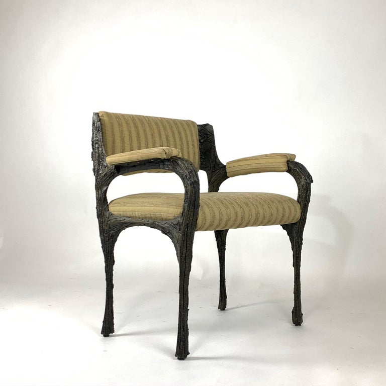 Pair of Midcentury Brutalist Sculpted Bronze Patinated Paul Evans PE105 Chairs For Sale 2
