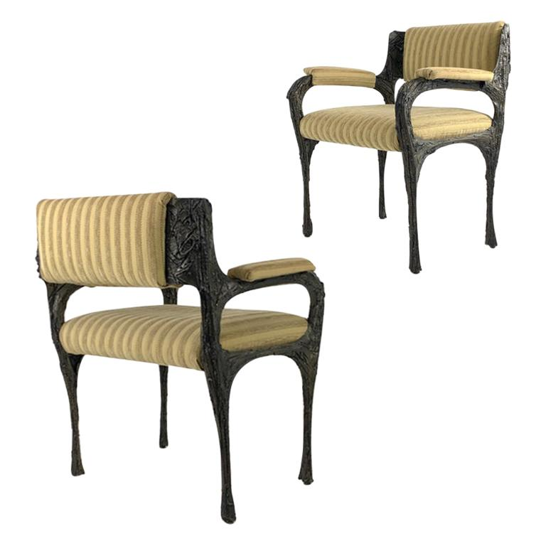 Pair of Midcentury Brutalist Sculpted Bronze Patinated Paul Evans PE105 Chairs For Sale