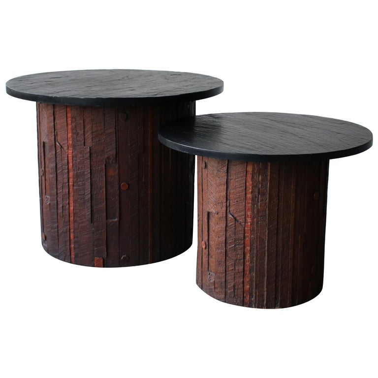 Pair of Midcentury Brutalist Slate End Tables