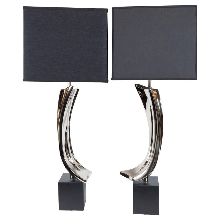 Pair of Midcentury Brutalist Table Lamps for Laurel Lamp Co.