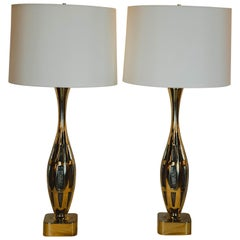 Pair of Midcentury Brutalist Tony Paul for Westwood Studios Brass Table Lamps