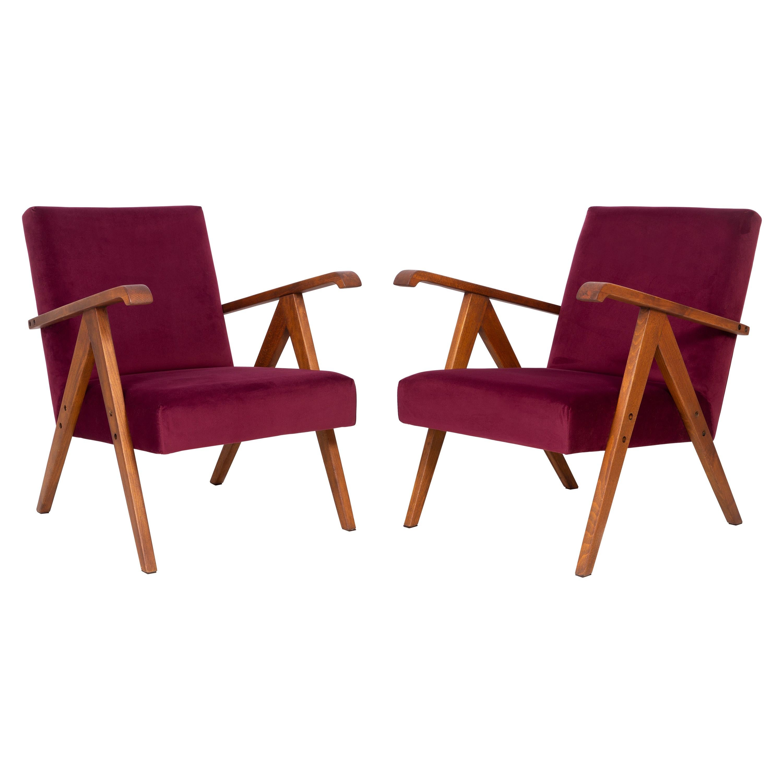 Pair of Midcentury Burgundy Velvet VAR Armchairs, 1960s