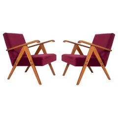 Pair of Midcentury Burgundy Velvet Var Armchairs, Europe, 1960s