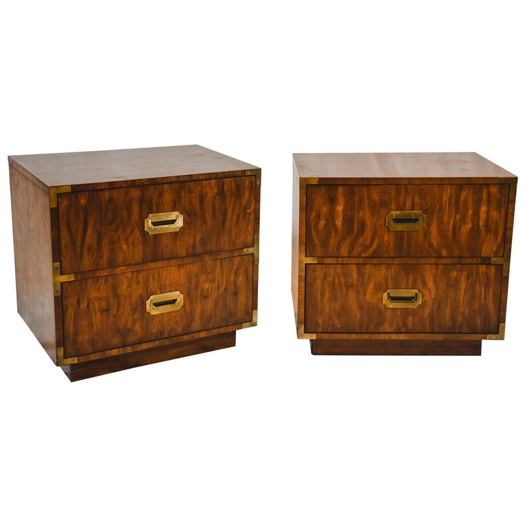 Pair of Midcentury Campaign Style End Tables by Dixie Furniture For Sale