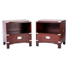 Pair of Midcentury Campaign Style Nightstands
