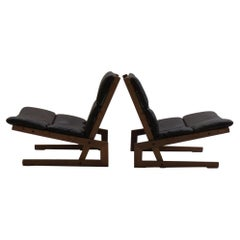 Pair of Midcentury Cantilever Oak and Leather Chairs, 1960s