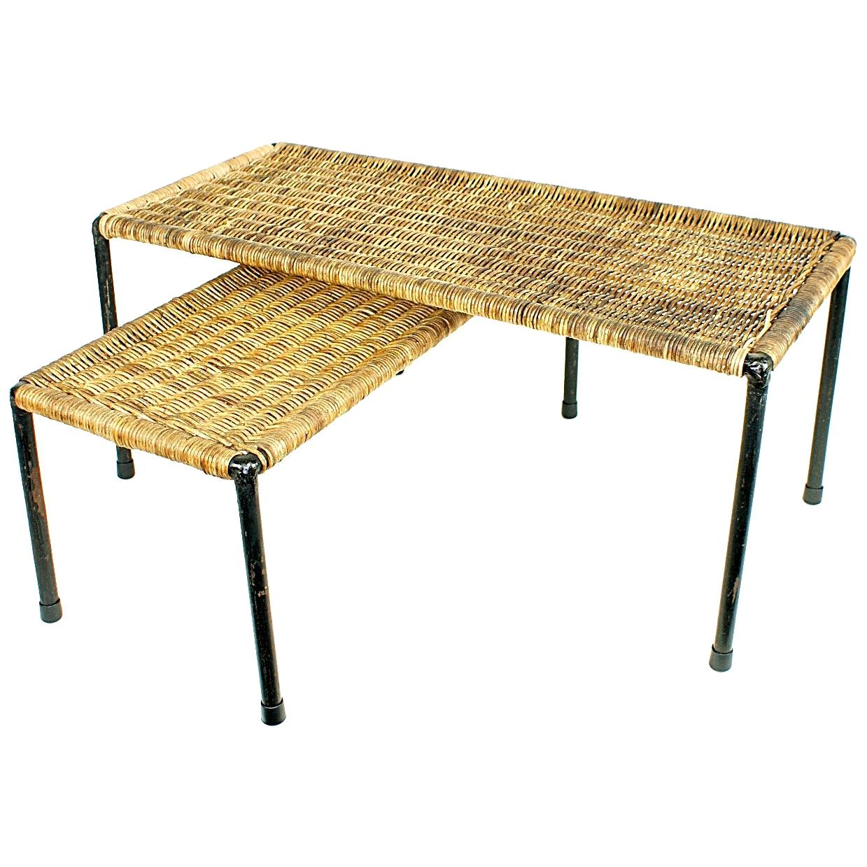 Pair of Midcentury Carl Auböck Rattan Top Side Table, 1950s, Austria