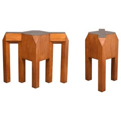 Pair of Midcentury Carpino Solid Wood Table Bases or Consoles, 1980s