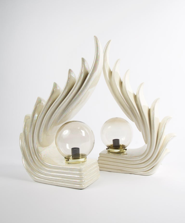 Unknown Pair of Midcentury Ceramic Art Deco Wave Table Lamps For Sale