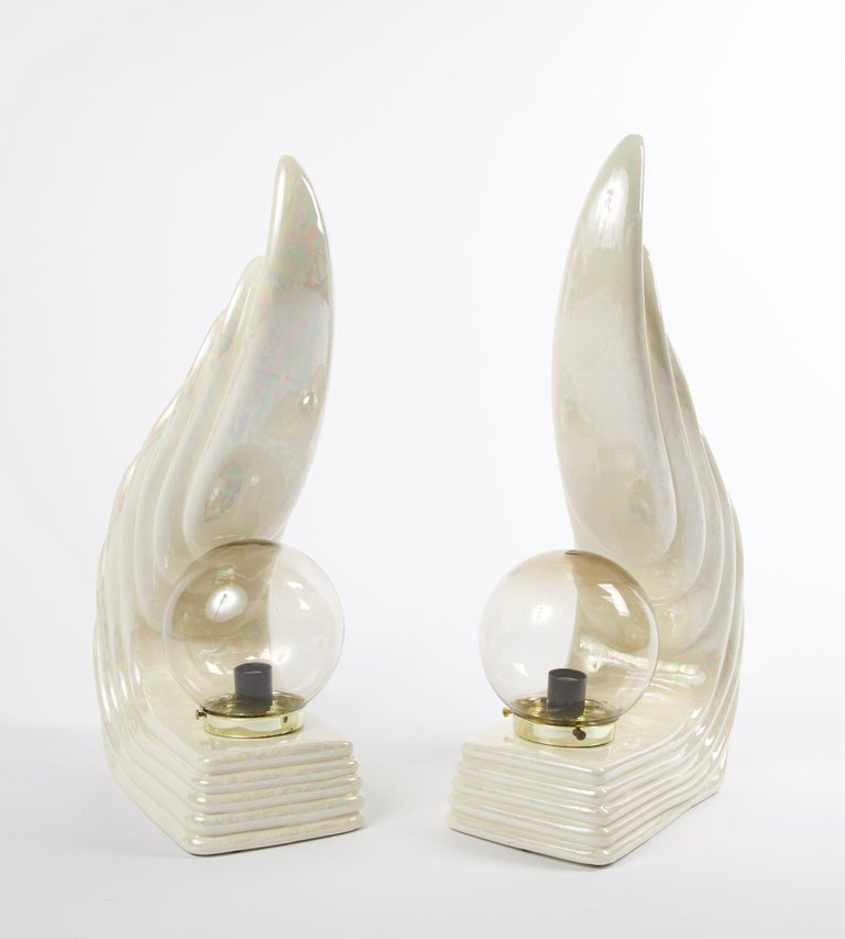 Early 20th Century Pair of Midcentury Ceramic Art Deco Wave Table Lamps For Sale