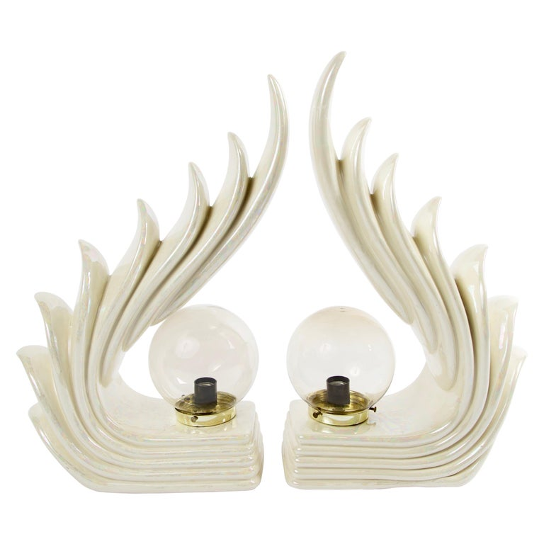 Pair of Midcentury Ceramic Art Deco Wave Table Lamps For Sale