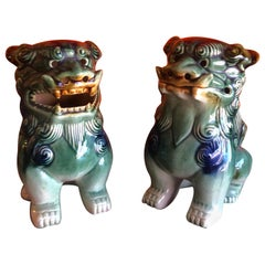Pair of Midcentury Ceramic Foo Dogs / Bookends