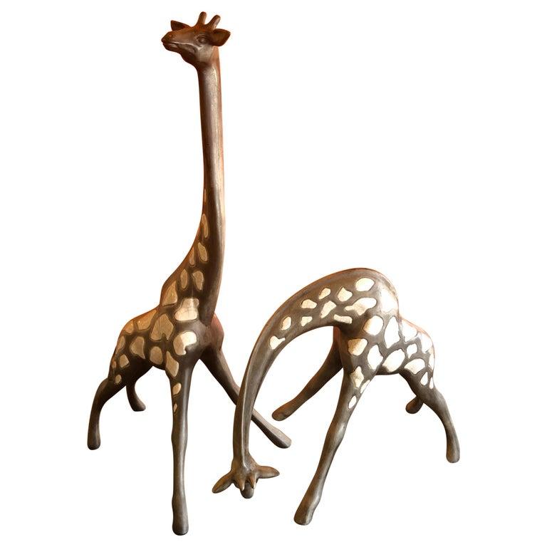 Pair of Midcentury Ceramic Giraffes by McFarlin Freeman Pottery For Sale