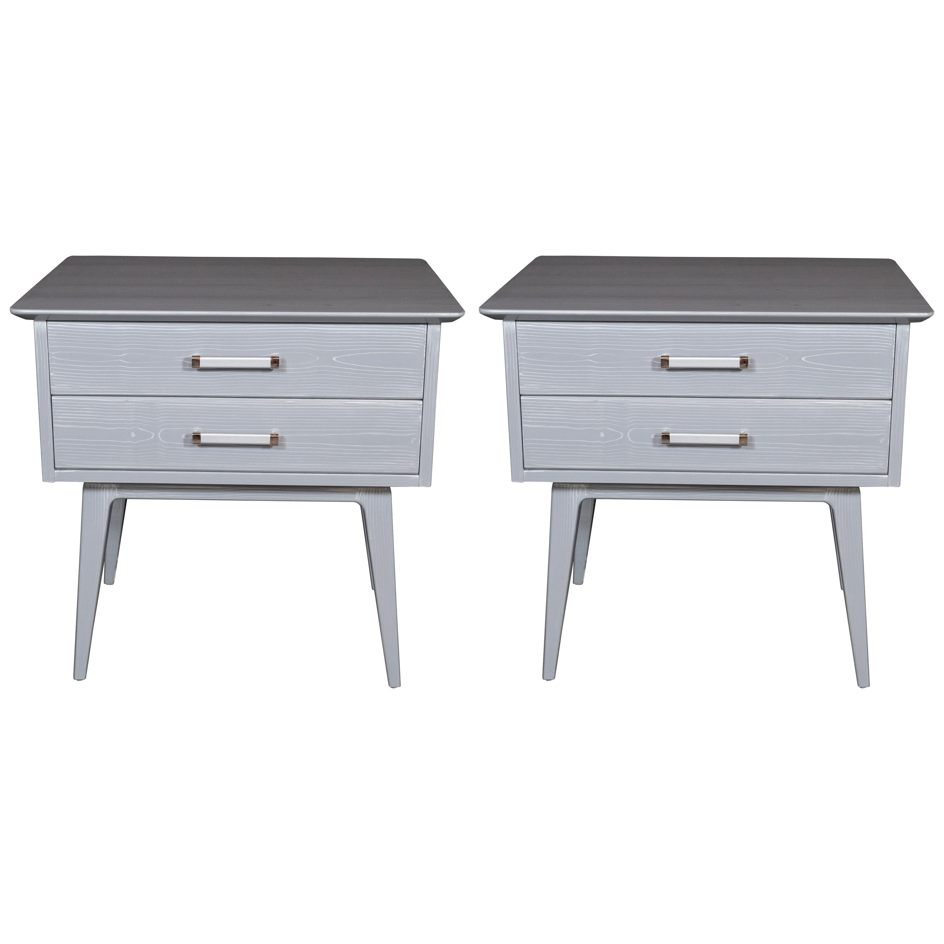 Pair of Midcentury Cerused Nightstands with Chromed Fittings by John Stuart Inc.