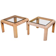 Pair of Midcentury Cerused Side Tables with Reeded Legs and Glass Tops