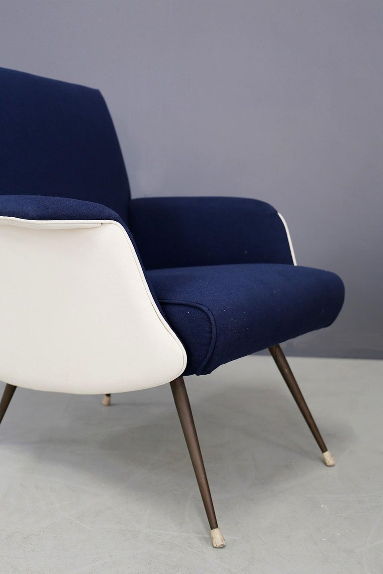 Pair of armchairs designed by Giuseppe Rossi for the Albizzate factory in Varese in 1956. Attached you will find the publication in Domus n 323 10/ of 1956. The small armchairs have been restored and lined with a beautiful Italian cotton fabric in