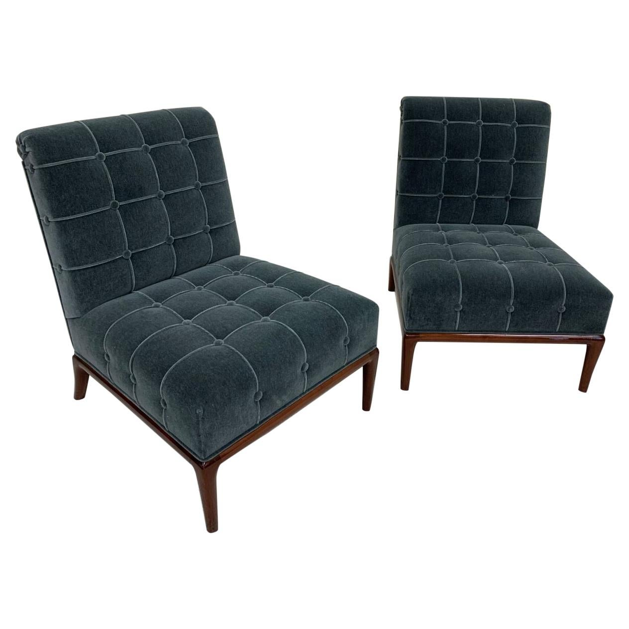 Pair of Mid Century Modern Chairs in the Style of Robsjohn-Gibbings in  Mohair