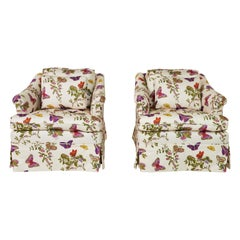 Pair of Midcentury Chairs Upholstered in Schumacher's Baudin Butterfly Chintz