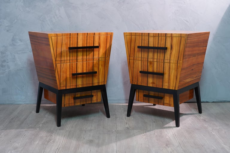 Pair of Midcentury Cherrywood Large Nightstands, 1950 For Sale 3