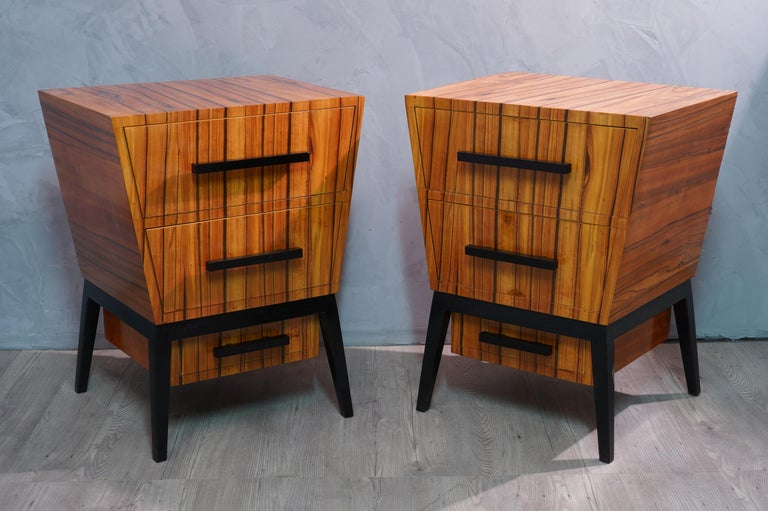 Pair of Midcentury Cherrywood Large Nightstands, 1950 In Excellent Condition For Sale In Rome, IT