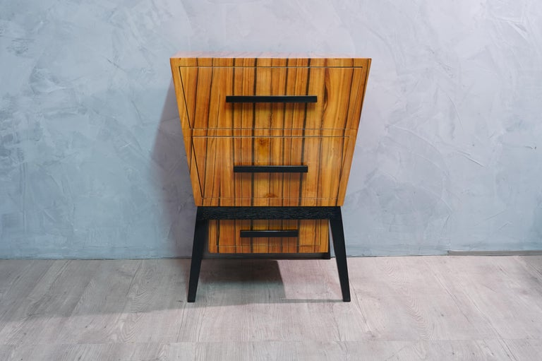 Beech Pair of Midcentury Cherrywood Large Nightstands, 1950 For Sale