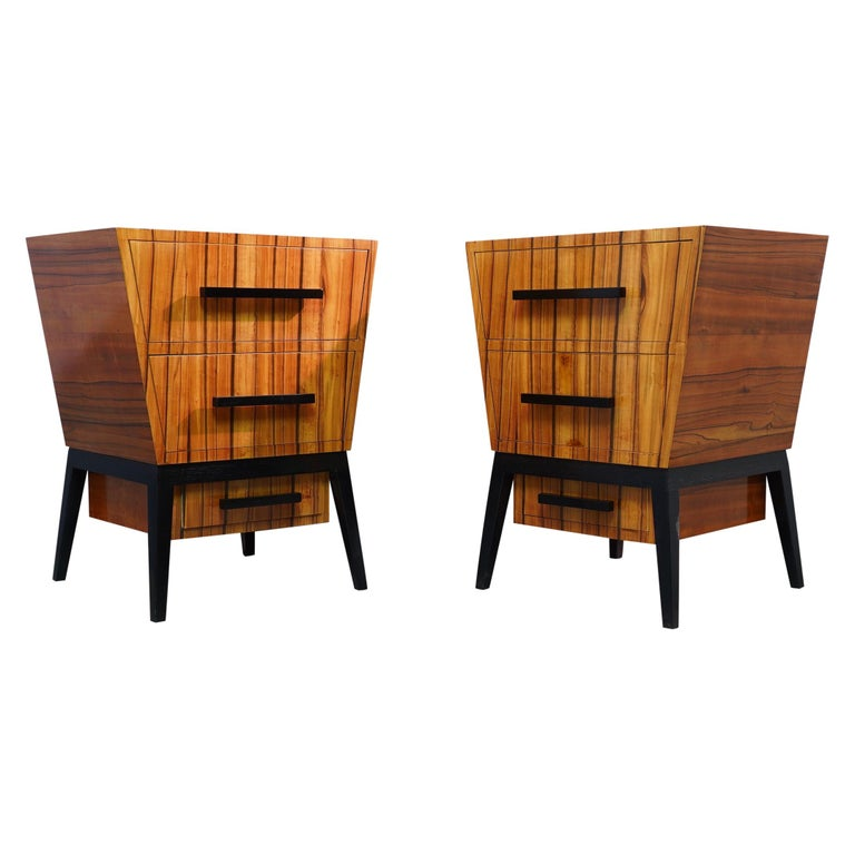 Pair of Midcentury Cherrywood Large Nightstands, 1950 For Sale