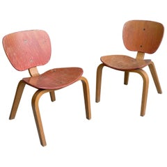 Pair of Midcentury Children Chairs in Bent Plywood, Germany, 1950s