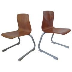 Pair of Midcentury Children / School Chairs Pagholz, Elmar Flötotto, 1980s