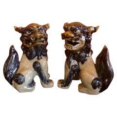 Pair of Midcentury Chinese Ceramic Foo Dogs