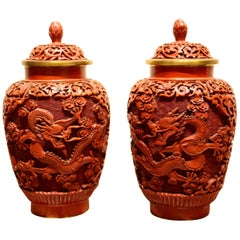 Pair of Midcentury Chinese Cinnabar Covered Ginger Jars