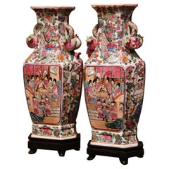 Pair of Midcentury Chinese Rose Medallion Polychrome and Gilt Porcelain Vases