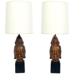 Pair of Midcentury Chinoiserie Guanyin Lamps