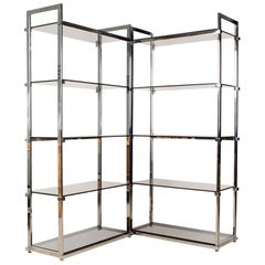 Pair of Midcentury Chrome and Glass Étagère Display Shelves, England, circa 1970