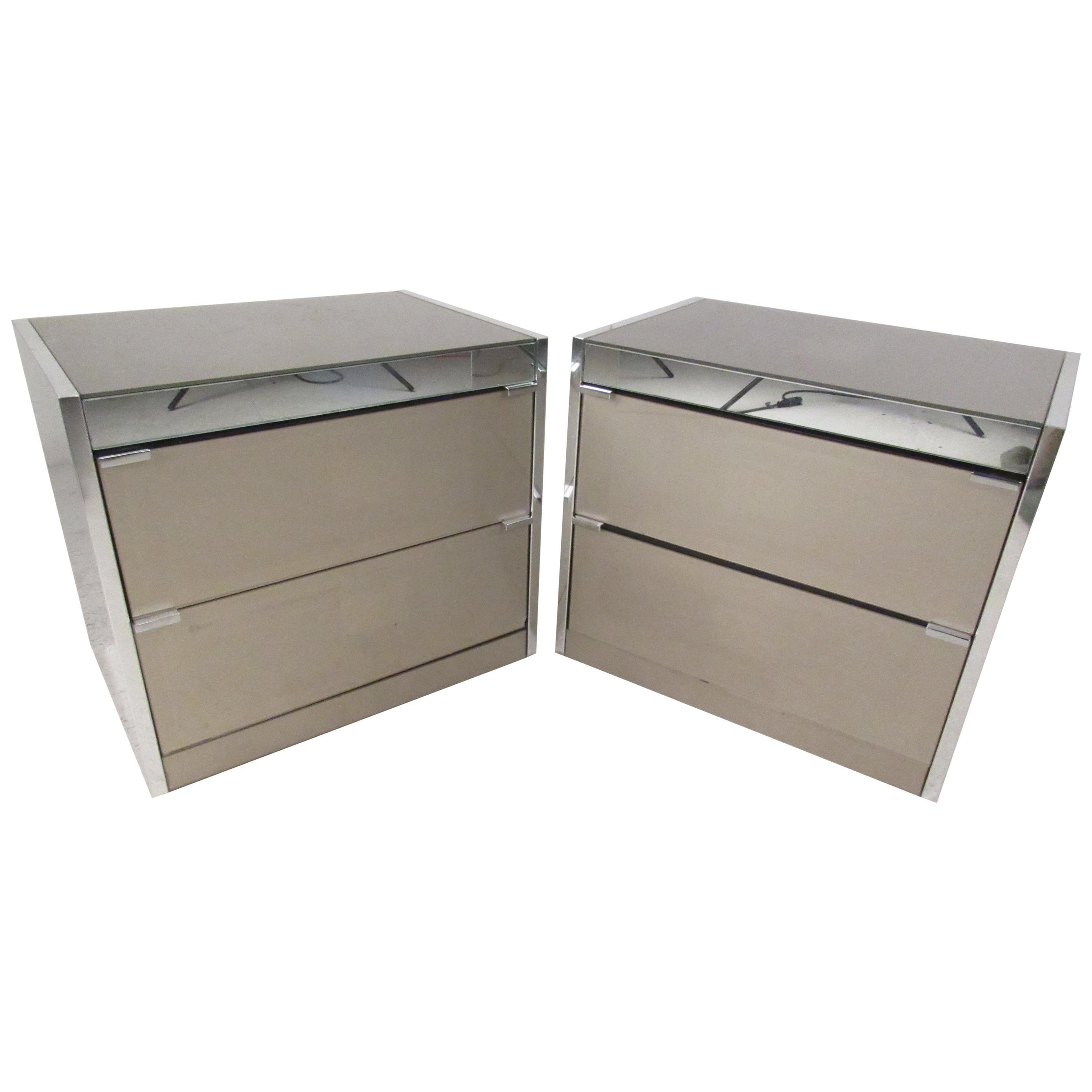 Pair of Midcentury Chrome and Glass Nightstands