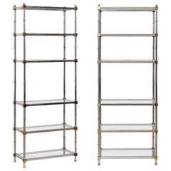 Pair of Midcentury Chrome and Glass Open Display Shelves, Maison Jansen Style