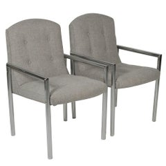 Pair of Midcentury Chrome and Gray Fabric Upholstered Armchairs