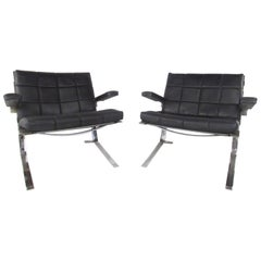 Pair of Midcentury Chrome and Leather Danish Airport Lounge Chairs