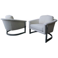Pair of Midcentury Chrome Barrel Chairs