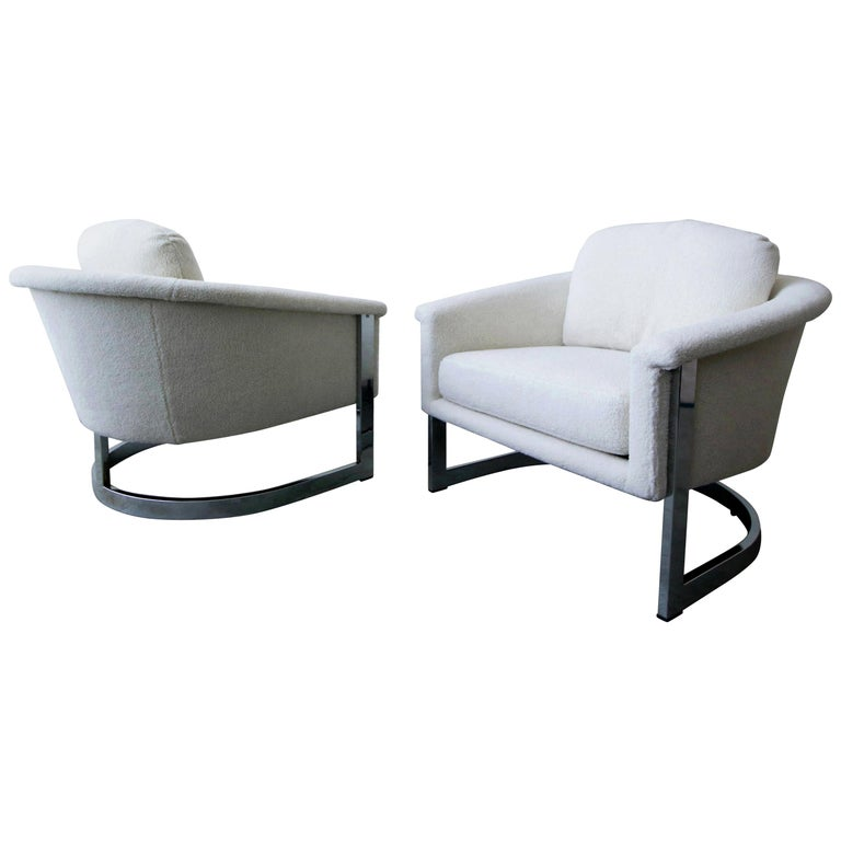 Pair of Midcentury Chrome Barrel Chairs For Sale