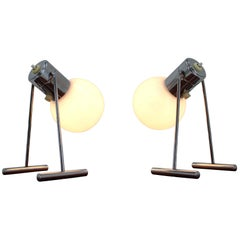 Pair of Midcentury Chrome Design Table Lamps by Drupol, Czechoslovakia, 1960s