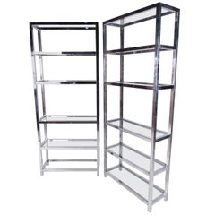 Pair of Midcentury Chrome Etagere Display Shelves