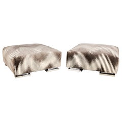 Pair of Midcentury Chrome Footed Ottomans in Jim Thompson Fabric