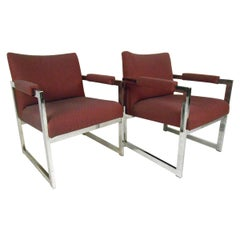 Pair of Midcentury Chrome Frame Lounge Chairs