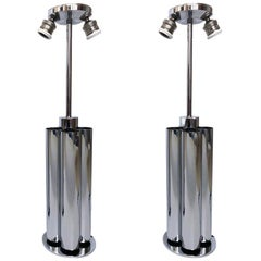 Pair of Midcentury Chrome Italian Table Lamps by Reggiani, 1970s