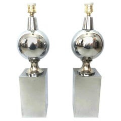 Pair of Midcentury Chrome Metal French Table Lamps by Philippe Barbier, 1970s