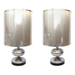 Pair of Midcentury Chrome Spanish Table Lamps, 1970s
